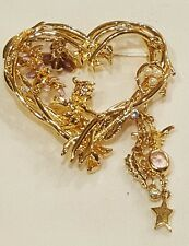 Kirks Folly Wisteria Fairy Large Heart Pin Brooch Estate Jewelry never worn
