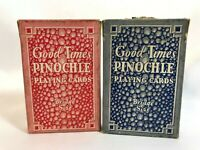 Good Times Pinochle Playing Cards Bridge Size Vintage Linen Finish Lot of 2
