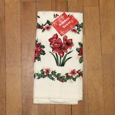 Christmas Lilies Kitchen Towel - Red Green Gold