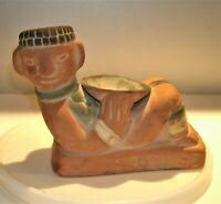 "Vtg Aztec Mayan Mexican Red Clay Pottery Reclining Man Incense Burner Bowl 8"" L"