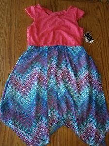 NWT Girls Pink & Violet Coral Multi Dress L Large 10 12