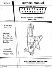 1970s Craftsman 101.22950  Metal Cutting, Convertible Band Saw Instructions