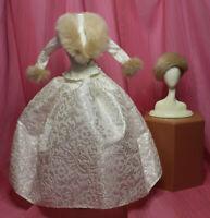 GORGEOUS Ivory Winter Evening Dress Suit Fur Hat Collar fit Barbie Silkstone