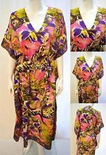Talla Grande Mariposa Encaje Caftán Vestido Largo Rosa Púrpura 16 18 20 22 24 26