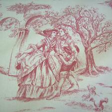 Stoff Meterware Baumwolle Toile de Jouy Frankrech natur rot Rips romantisch NEU