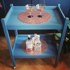 Vintage wooden tea trolley, upcycled, mini orbit wheels, blue and rose gold.