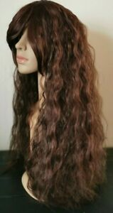 Brown curly wavy frizzy fringe very long hair wig fancy dress cosplay