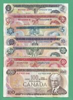 1970s Set of 7 Bank of Canada Notes - $1-$2-$5-$10-$20-$50 -$100