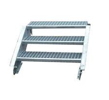 Stahltreppe Treppe 3 Stufen / Stufenbreite 70cm / Geschosshöhe 40-60cm verzinkt