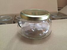 Case (12) Glass TUREEN CANDLE Canning JARS With GOLD Metal Lids (with seal) 22oz