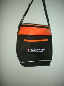 NEW INSULATED LUNCH  BAG COMBINATION BLACK AND ORANGE 12 X 13 IN WITH STRAP