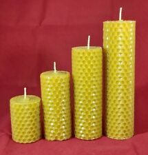 Large Solid Cast Church candle 100/% beeswax 14 x 5.2cm Pillar Moulded Natural