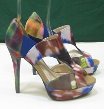 "new lady MULTI RAINBOW color 5""Stiletto High Heel Peep Toe Womens SHOES Size 7"