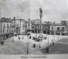stampa antica old print PUGLIA LECCE PIAZZA SANT'ORONZO 1889