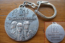 ancien porte clé médaille bis 25e anniversaire argenté