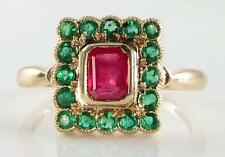 UNUSUAL COMBO 9CT GOLD ART DECO INS RUBY & EMERALD RING