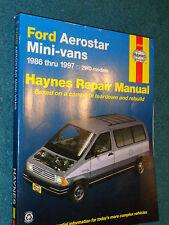 1986-1997 FORD AEROSTAR VAN SHOP MANUAL 87 88 89 90 91 92 93 94 95 HAYNE'SS BOOK