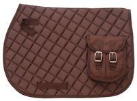 Equiroyal Brown Contoured English Pocket Pad horse tack equine 30-995
