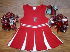 RED Cheerleader OUTFIT COSTUME TEXAS TECH DELUXE POM POMS & CHEER BOW 12-14 SET