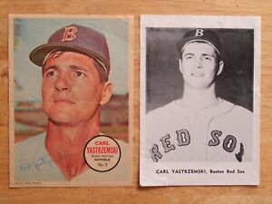 2 CARL YASTRZEMSKI No 8 BOSTON RED SOX 1967 Topps #5 Poster / 60s B&W Team Photo