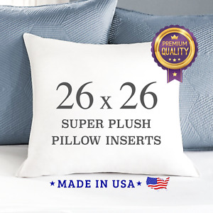 """26x26"""" Pillow Inserts Stuffing Down Alternative Square Pillows Made in USA Euro"""