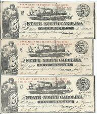 3 1863 State of North Carolina Raleigh $5 Fundable 6% Coupon Bonds Plates B C D
