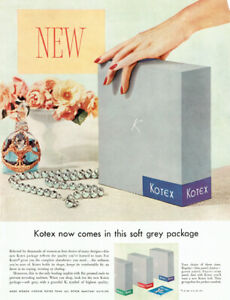 Now In This Soft Grey Package Kotex Sanitary Napkins Perfume Bottle 1955 Ad