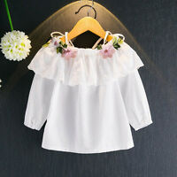 Children Toddler Girls Blouse Embroidery Solid Long Sleeve Shirt Tops Clothes