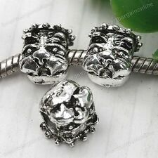 5x Tibetan Silver 4mm Hole Shar-pei Dog European Spacer Bead For Charms Bracelet