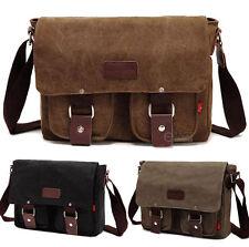 Men's Vintage Canvas School Satchel Shoulder Messenger Bag Laptop Bag Small