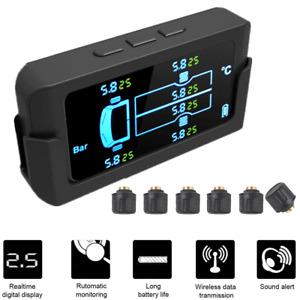Car Tire Pressure Monitoring System LCD Solar Wireless TPMS w/ 6 External Sensor