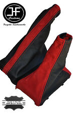 RED SUEDE BLACK LEATHER FITS VAUXHALL CORSA C MKII 2000-2006 GEAR HANDBRAKE