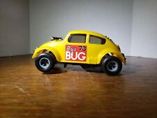 Vintage 1/32 Eldon Cox VW Beetle Baja Bug Slot Car w/box 1971 Yellow 3738-1