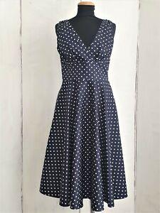 Pretty Retro Party Jive Dress Polka Dot Blue White UK 14 NWT Full Skirt Cotton