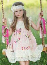 MUSTARD PIE Butterflies Tiered Dress Baby Girl Size 6 Months Precious!