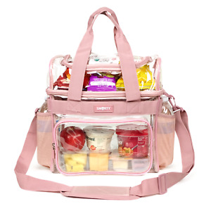 XL Heavy Duty Clear Lunch Tote Bag (Extra Large) - Ash Pink