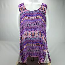 Inca Collection Purple Aztec Jaden Swing Cover-Up Top Sheer Size Large L $225