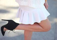 ZARA WHITE SKIRT Neoprene Skirt with Frill On The Hem Size S bloggers mini