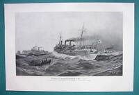 GERMAN FRIGATE Brandenburg-Geschwader at Sea - VICTORIAN Era Print