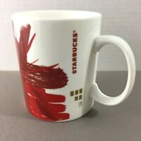 Starbucks Coffee Mug Christmas Holiday 2014 red gold poinsettia starburst 15.2oz