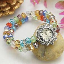 Uhr mir Strass und Glas-Perlen bunt geschliffen Armbanduhr Quarzuhr silber Neu