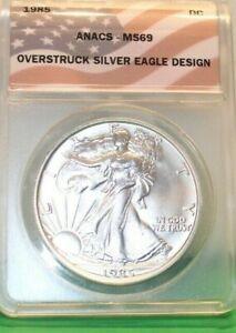 1985-D Token Dan Carr Walking LIberty $ O/S on US Silver Eagle ANACS