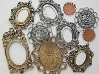 10 SETTINGS BIG VTG & MODERN LOT CAMEOS CABOCHONS FLATBACKS PENDANT NOS FINDINGS