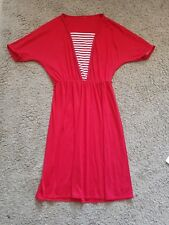 Retro vintage 80s red jersey dress - size 14