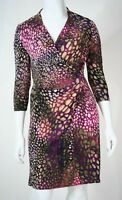 JACQUI E Womens Size 12 Pink Black Tiger Print Stretch Work to Cocktail Dress