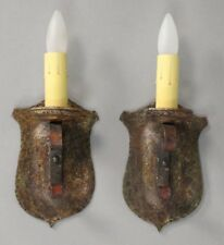 Antique Pair of 1920's Iron Sconces W/ Shield Backplate Original Finish (10566)
