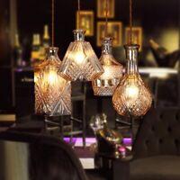 E27 Deckenlampe Hängeleuchte kreativ Weinflasche Glas Kronleuchter Vintage Lampe