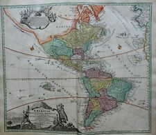 North and South America Colonial America c. 1740 Homann decorative folio map