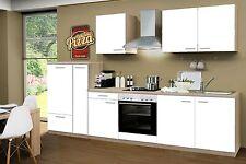Küchenzeile Classic Weiss CF 300cm, Sonoma Nb., incl.E-Geräte, Ceran, Apotheker