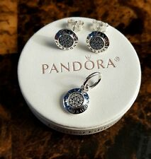 Authentic Pandora Logo signature stud Earrings and pendant set 925 sterling silv